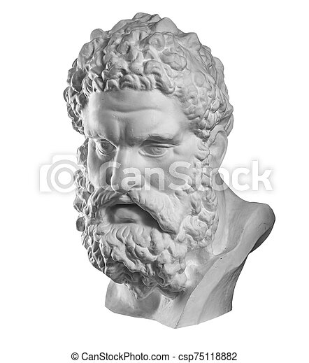 Gypsum Copy Of Ancient Statue Heracles Head Isolated On White Background Plaster Sculpture Man Face White Gypsum Copy Of Canstock