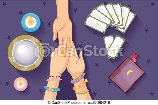 Gypsy Fortune Telling Elements Palm Reading - csp34984219