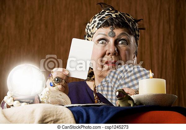 Gypsy with blank tarot card - csp1245273