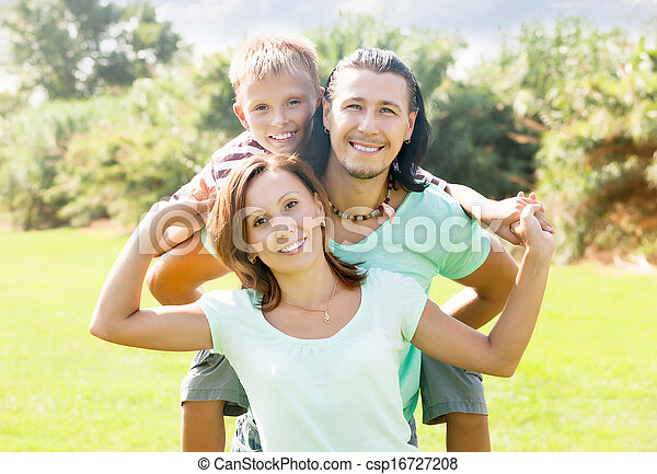 három, család, boldog - csp16727208