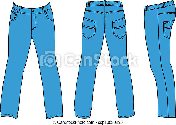 Hát, lejtő, farmernadrág, kék, (front, bábu. White., vektor