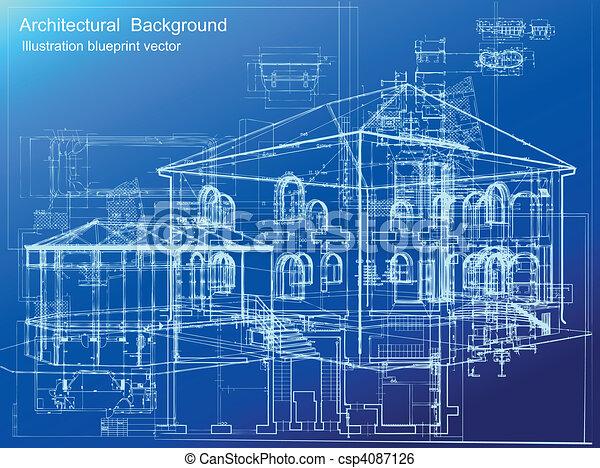 háttér., építészeti, vektor, tervrajz - csp4087126