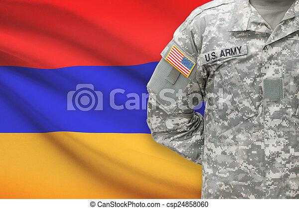 háttér, -, amerikai, katona, lobogó, örményország - csp24858060
