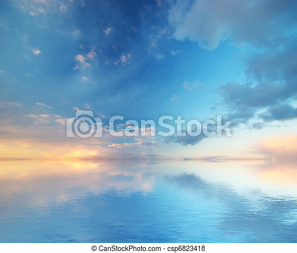 háttér., nature., ég, zenemű - csp6823418