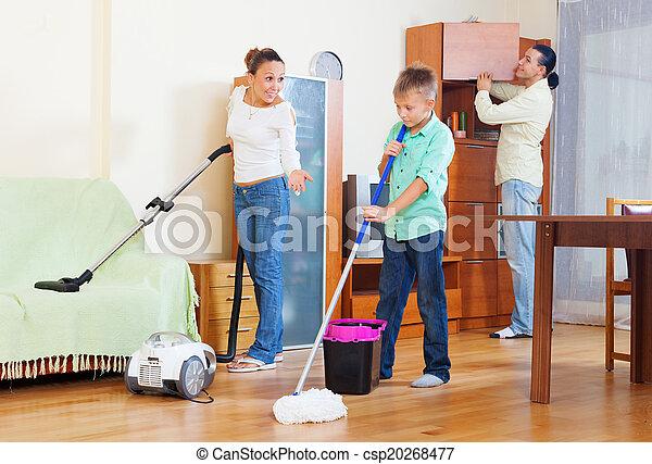 házimunka, három, család, tizenéves - csp20268477