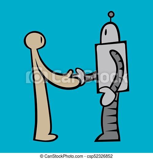 Junge Kaukasischen Mann Und Modernen Roboter Händeschütteln. Hipster Man  Handshaking Mit Roboter. Konzept Der Zusammenarbeit Zwischen Künstlicher  Intelligenz Und Mensch. Vector Cartoon Illustration. Quadratisches Layout.  Lizenzfrei Nutzbare ...