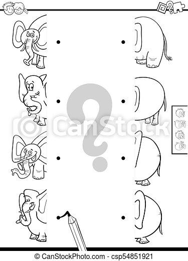 Streichen Sie die Hälften von Elefanten Spielfarbe Buch - csp54851921