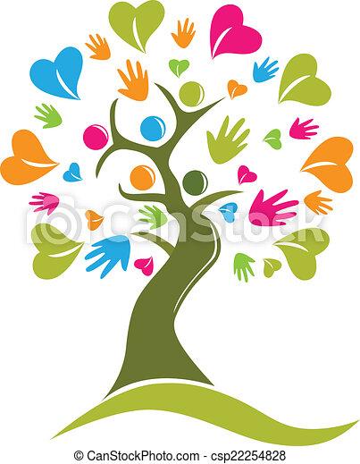 Tree Hände und Herzen Figuren Logo Icon Vektor - csp22254828