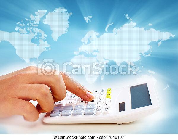 hände, calculator., geschäftsmenschen - csp17846107