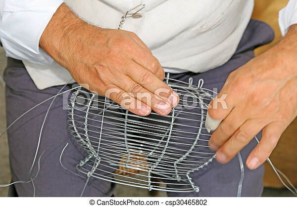 Hände, draht, webt, handwerker, blumenvase. Draht ...