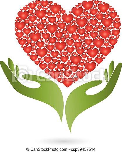 Hände, Herz aus Herzen - csp39457514