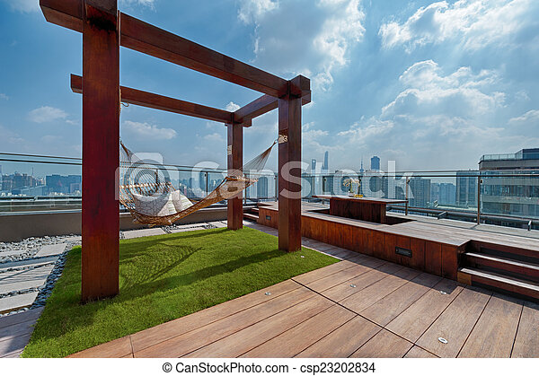 Hangemattte Sonnig Terrasse Dach Tag Shanghai Sonnig Dach