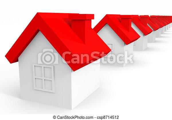 häusser, roof., rotes  - csp8714512