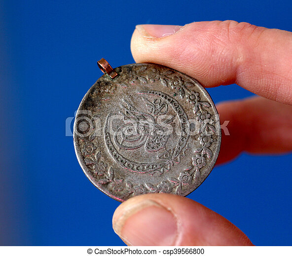 hålla, gammal, fingrar, ottoman kejsardöme, mynt - csp39566800
