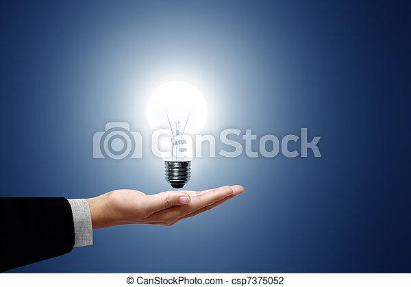 hånd, pære, firma, lys - csp7375052