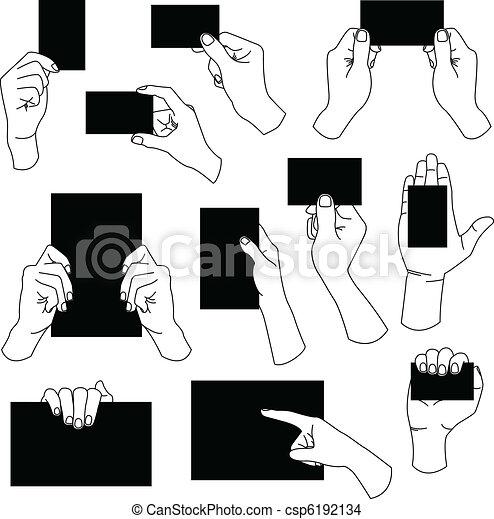hånd, tom, card, firma, holde - csp6192134