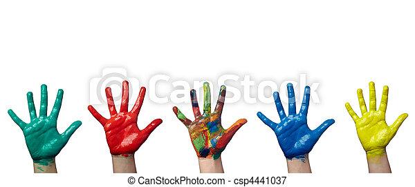 håndværk, hånd, kunst, barn, mal, farve - csp4441037