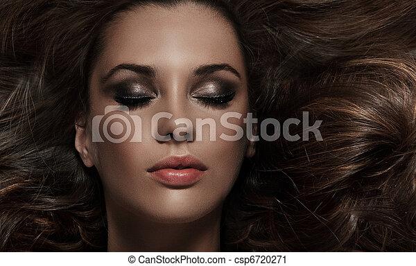 hår, brunett, skönhet, länge - csp6720271