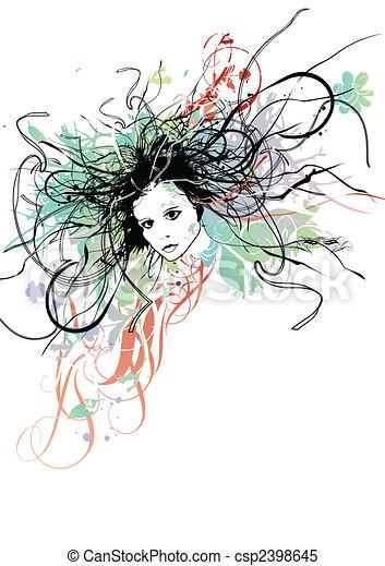hår, kvinna, lockig - csp2398645