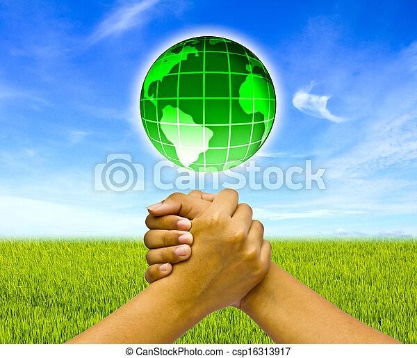 hænder, begreb, globe., to, forenet - csp16313917