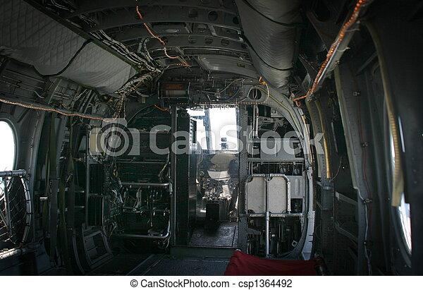 Hélicoptère, vieux. Peu, intérieur, front., transport, hélicoptère.