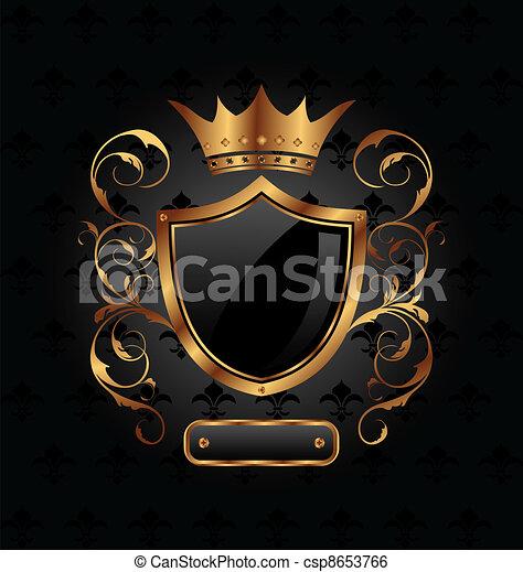 héraldique, couronne, bouclier, orné - csp8653766