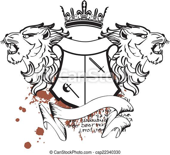 Héraldique Crête Tête Lion Tattoo7