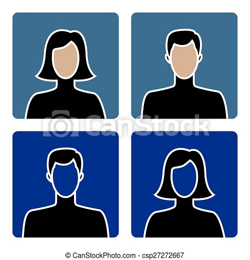 hím, avatar, női, ikonok - csp27272667