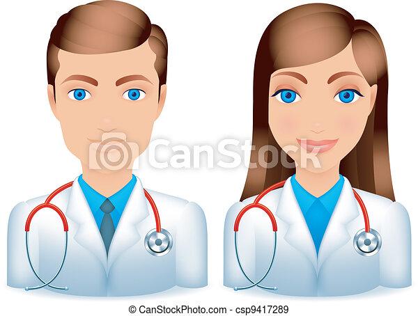 hím, női, doctors. - csp9417289