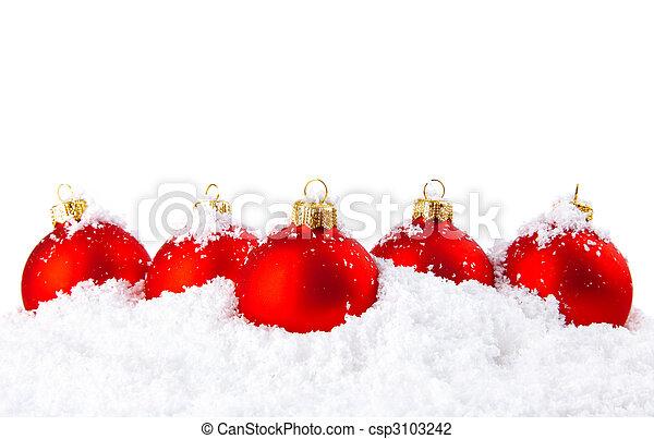 hó, golyózás, dekoráció, fehér, ünnep, karácsony, piros - csp3103242