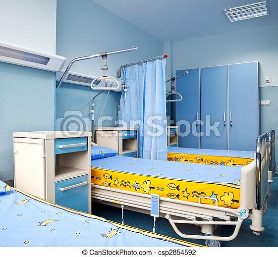 Hôpital, rééducation, salle. Hôpital, moderne, lits, chambre ...