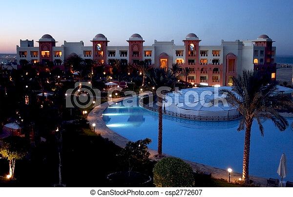 hôtel, moderne, temps, nuit - csp2772607