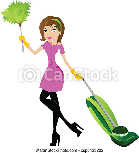 hölgy, betű, takarítás - csp8433282