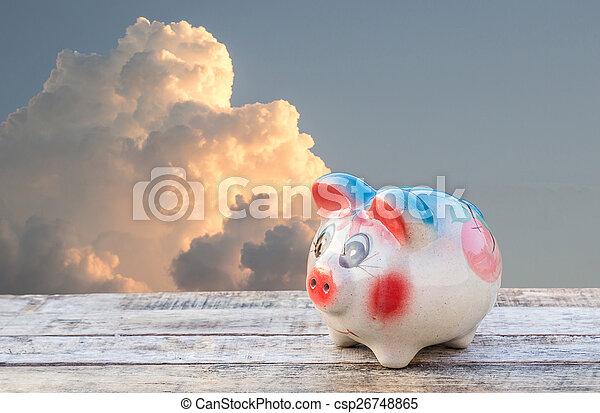 hölzern, aus, himmelsgewölbe, verwischt, schweinchen, hintergrund, tisch, bank - csp26748865