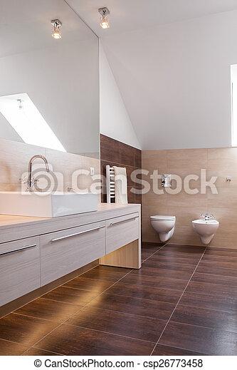 Hölzern, badezimmer, luxus, parkett. Brauner, badezimmer ...