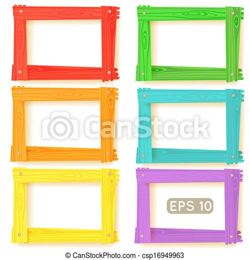 hölzern, bild, satz, rahmen, farbe - csp16949963