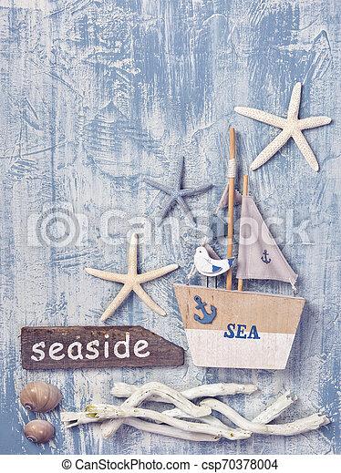 hölzern, dekoration, leben, marine, hintergrund - csp70378004