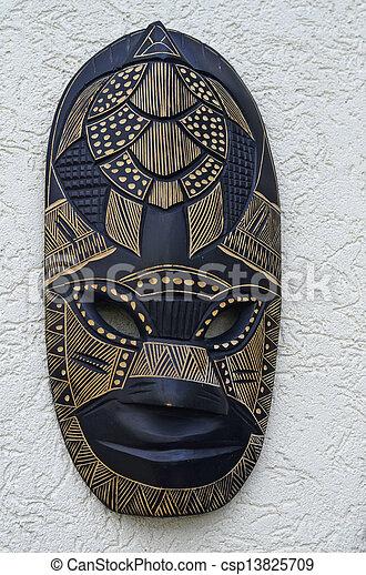 hölzern, fidschi, maske - csp13825709