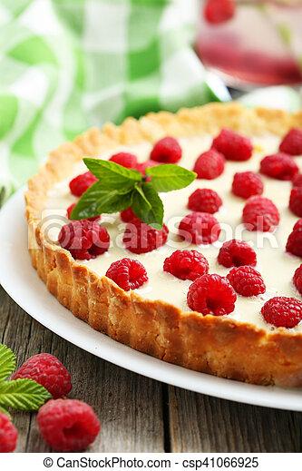 Hölzern, Lieb, Grau, Himbeeren, Hintergrund, Kuchen, Torte   Csp41066925