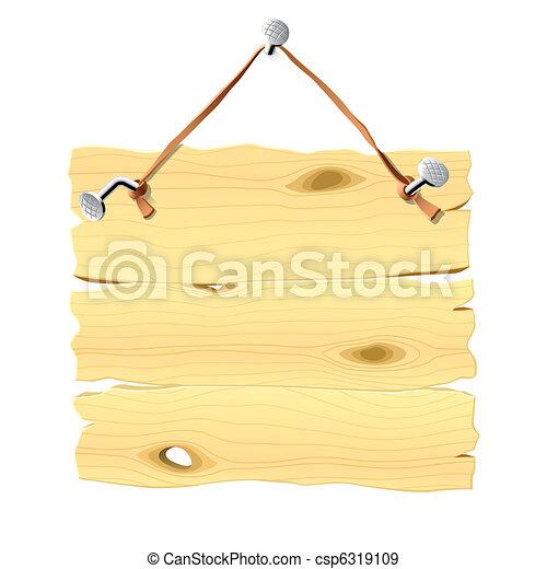 hölzern, nagel, tafel, hängender  - csp6319109