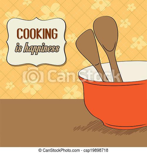 Hölzern, topf, kochen, lagerung, geräte, hintergrund, kueche ...