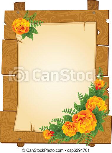 Holzzeiger mit Blumen - csp6294701