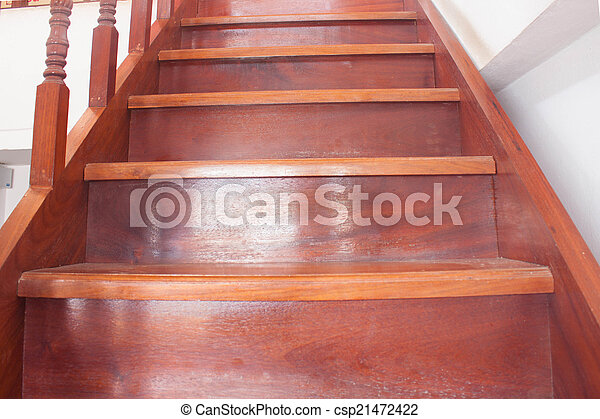 hölzernes haus, schritte, treppenaufgang, thailand - csp21472422