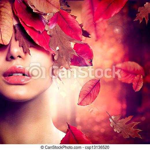 höst, kvinna, portrait., mode, falla - csp13136520