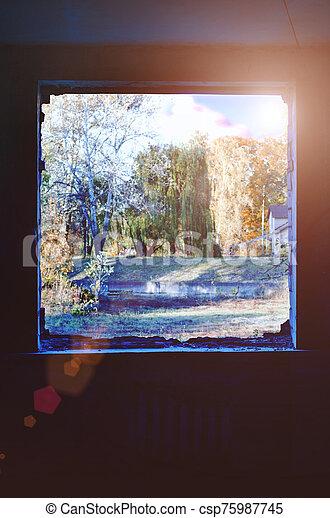 höst, landskap., synhåll, fönster - csp75987745