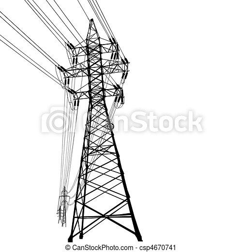 høj, beklæde, spændingen, magt - csp4670741