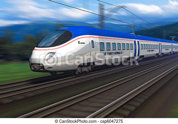 høj hastighed tog, moderne - csp6047275
