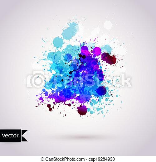 húzott, elements., ábra, elvont, háttér, kéz, vízfestmény, paper., befest, vektor, vízfestmény, nedves, scrapbook, bepiszkít, zenemű - csp19284930