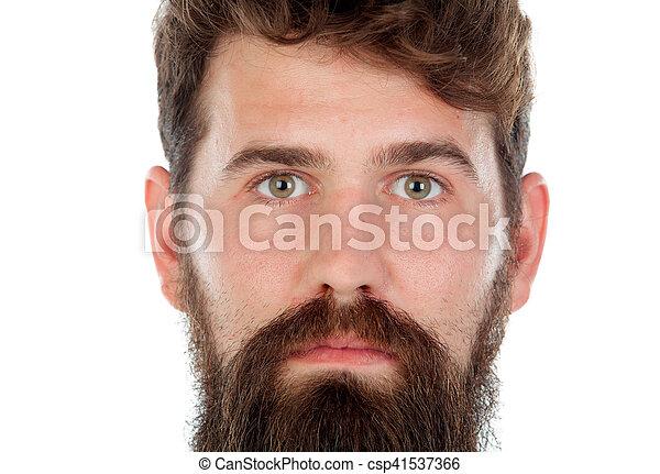 Hübsch Mann Langer Bart Hübsch Freigestellt Langer Weißes