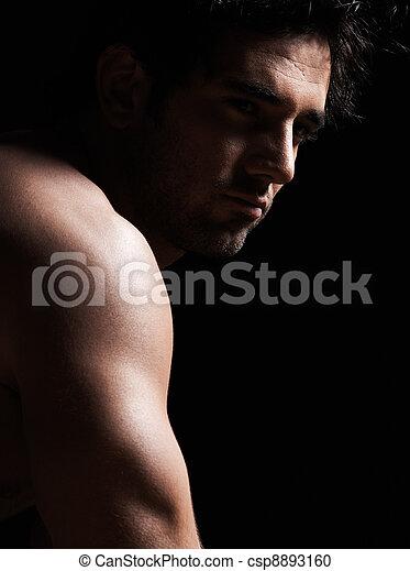 hübsch, oben ohne, sexy, porträt, macho mann - csp8893160
